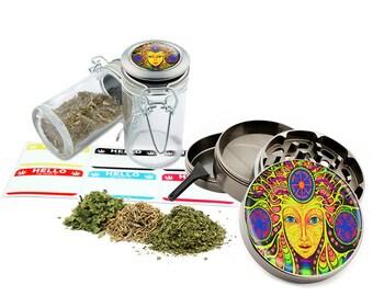 "Face Art - 2.5"" Zinc Alloy Grinder & 75ml Locking Top Glass Jar Combo Gift Set Item # 110514-0013"