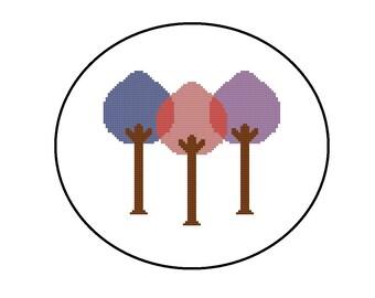 Modern Cross Stitch Pattern PDF - Colorful Tree Cross-Stitch Pattern - Instant Download Nursery Decor