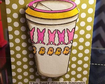 Handmade Blank Happy Easter Car Blank Inside Happy Birthday Anniversary greeting card glitter coffee with matching envelope