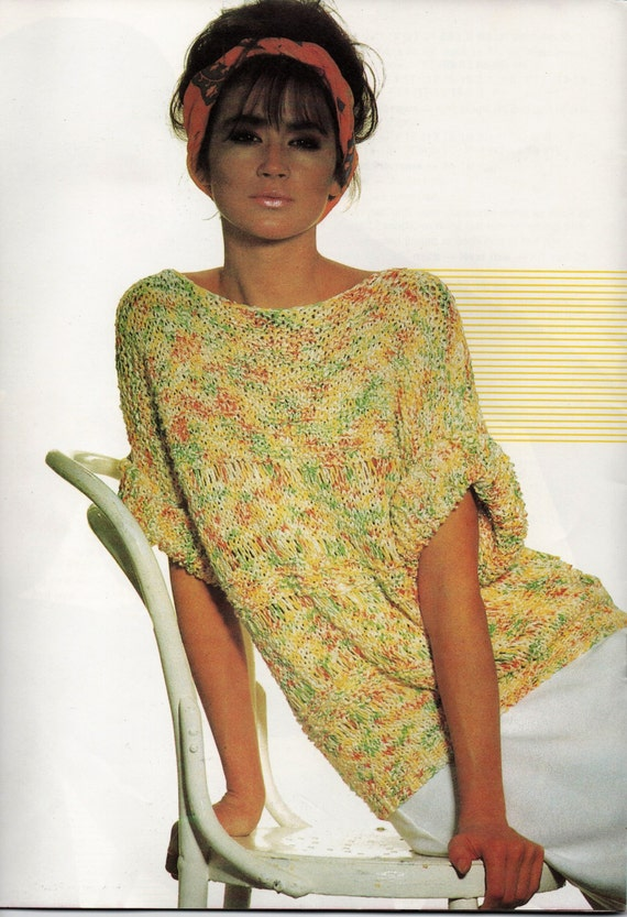 Vintage Knitting Pattern Womens Ladies Top Fashion Knitting