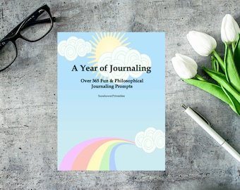 A Year of Journaling: Over 365 Fun and Philosophical Journaling Prompts - 14 pg. Instant Download & Printable PDF booklet