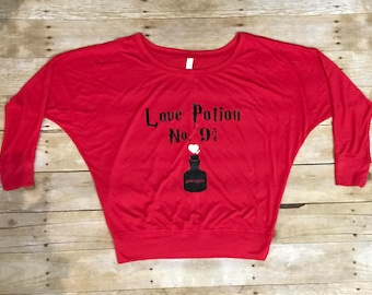 Love Potion No. 9 3/4 (Harry Potter) Ladies' Flowy Long-Sleeve Off Shoulder Tee