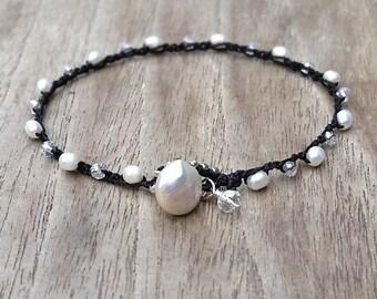 Pearl Crochet Stacking Bracelet, Black and White Jewelry, Dainty Crocheted Bracelet, made in Hawaii,  Boho Mod Summer Minimalist Wedding