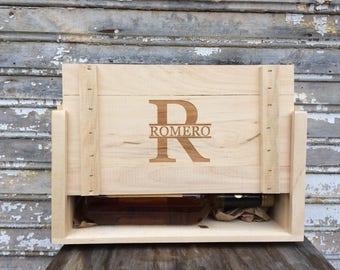 Engraved Whisky Box Personalized for Two Liquor Bottles or 750ml Craft Beer Bottles, Men's Gift