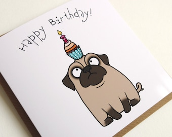 Birthday Cards Cartoon ~ Funny birthday card with pug. printable digital greeting card