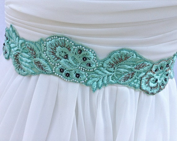 Beaded Bridal Sash Wedding Sash in Mint Green Made WIth