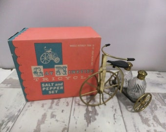 Gay Nineties Tricycle Salt and Pepper Shaker Set with Box Gold and Black Retro Kitchen Decor