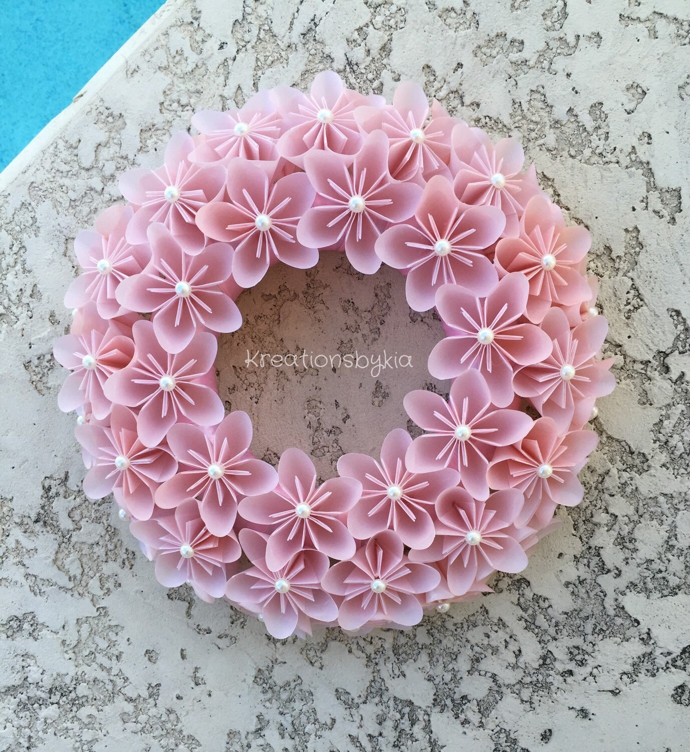 Origami Paper Flower Pink Wreath Wedding Decorations