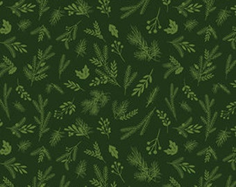Sprigs on Green from Riley Blake Fabric's Christmas Delivery Collection by Carta Bella 100% Cotton C7334