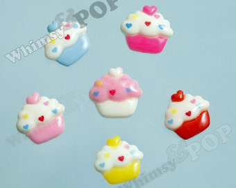 Kawaii Colorful Cupcake Resin Cabochons, Cupcake Cabochons, Kawaii Cupcakes,  24MM (R4-040)