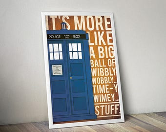 Doctor Who poster Tardis poster Doctor Who art alternative poster Dr Who quote poster Science Fiction poster Quote poster