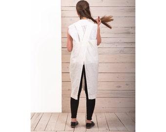 Linen Pinafore Apron - Womens linen apron -  White linen apron - Linen long crossback apron - Japanese style apron - Hand made apron