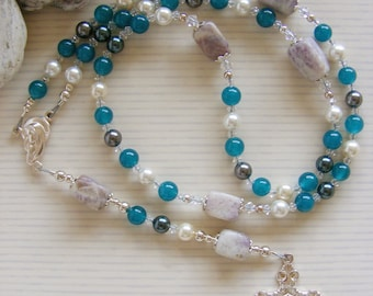 Sterling Silver Purple Quartzite - Handmade Rosary - Grey Teal Gemstone Beads - Catholic Rosary - Made in the UK