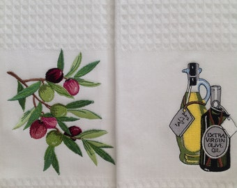Embroidered Kitchen OLIVES Towels, Kitchen towels, Dish towels, White towels