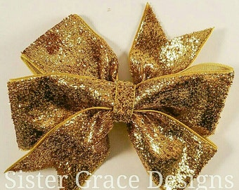 Large Gold Hair Bow, Girl Gold Glitter Hair Bow, Gold Toddler Bow, 4 Inch Boutique Bow, No Slip Clip, Girl 1st Birthday Bow