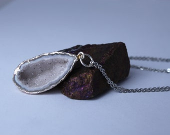 White Teardrop Druzy Geode Half Necklace - Sterling Silver Drusy Jewelry - Natural Stone, Hypoallergenic Chain - Simple Statement Necklace