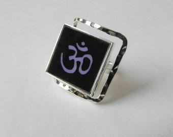 OM Glass Tile Ring ~ Square Tile Modern Silver-tone Metal Ring by ElleBelle Art - ALSO available are OM mini tile glass earrings