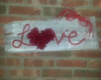 Barnwood and burlap LOVE