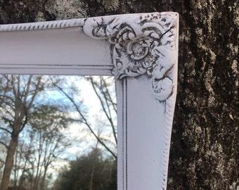Shabby Chic Mirror, Farmhouse Mirror, Vintage Mirror, 24 inch mirror, Rectangular Mirror, Off White Mirror