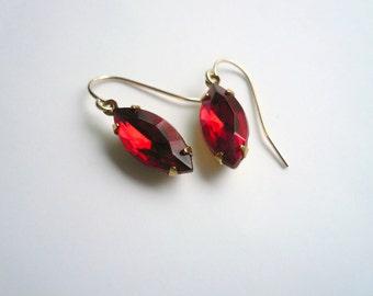 Red garnet earrings January birthstone earrings Vintage ruby red cut glass New 14K gold fill ear wires July birthstone