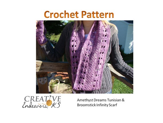 Instant Download Tunisian Crochet Pattern Circle Scarf Pattern