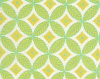 Dena Designs - DF78 McKenzie Circles diamond geometric Green Yellow white - cotton quilting fabric - HALF