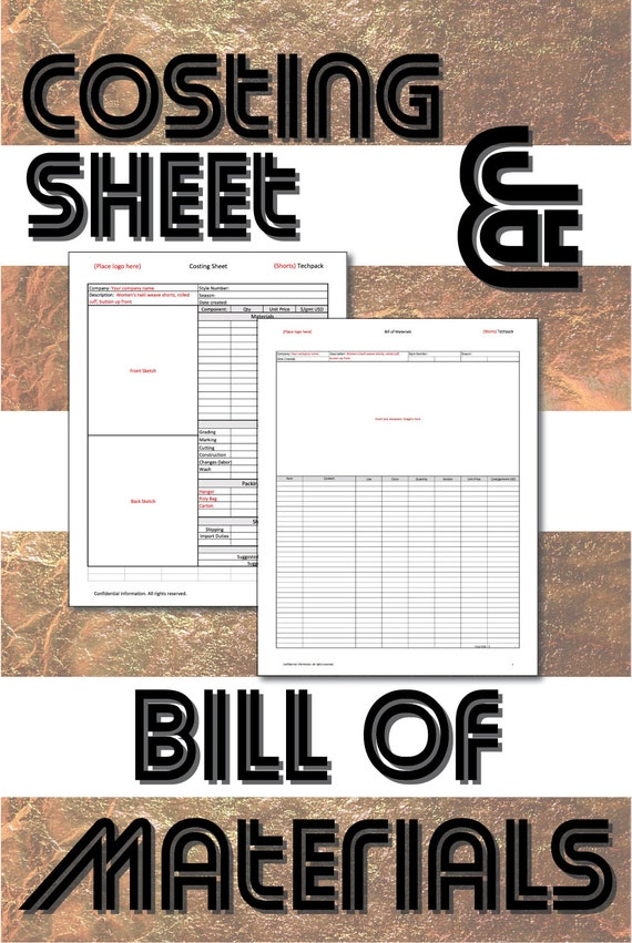 Excel Templates Cost Sheet And Bill Of Materials For Product