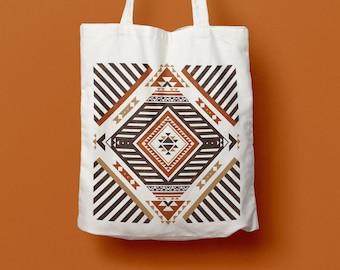 Tote Bag Navajo - cotton bag, dust bag, beach bag, pattern, symetric, geometric draw, stripes, native americans inspiration