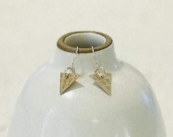 Textured Silver Triangle Earrings