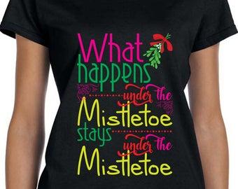 Mistletoe T Shirt Ugly Christmas Shirt What Happens Under The Mistletoe Gift For Las Vegas Fan Xmas Shirt Funny Christmas Shirt TH393