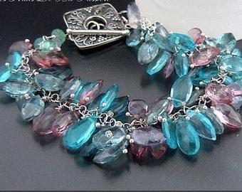 Semi precious (briolettes) - 925 - Crystal bracelet - Designer