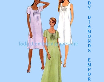 McCalls 3182 Womens Loose Fitting Pullover Dress or Jumper Front Tucks size 8 10 12 Mini Midi Maxi Two Hour Sewing Pattern Uncut FF