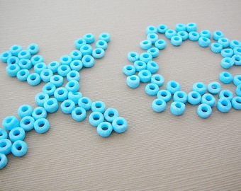 Czech Glass Beads, Turquoise Blue Large Hole Spacers