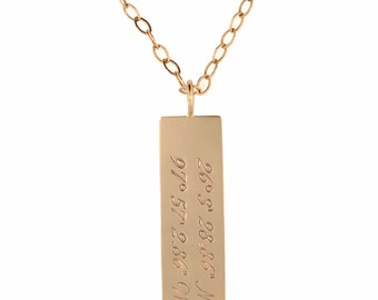 14K Gold Vertical Bar Necklace Pendant Necklace Square Rectangle with Chain Custom Name Personalized MetalPressions Handcrafted for him her