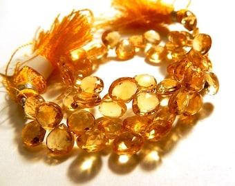 Citrine Gemstone Briolette, Semi Precious Gemstone Bead. Faceted Natural Gemstone Heart Briolette 7mm.  Pair or 1 to 9 Briolettes