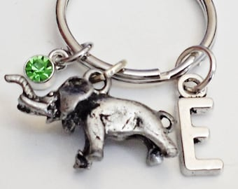 Great Design PEWTER ELEPHANT personalized  initial KEYCHAIN  With Personalized Birthstone  /J6