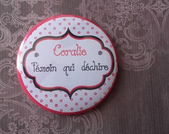 "Pocket mirror personalized ""witness that tears"" wedding red and black"
