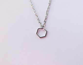 Dainty geometric modern necklace, hexagon jewelry, steel Tibetan silver, minimalist gift for her, contemporary silver tone costume jewellery