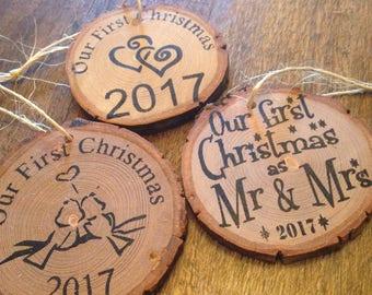Mr. And Mrs. 1st Christmas, custom wooden ornament, hand painted ornament, couple's 1st Christmas, personalized ornament, rustic ornament