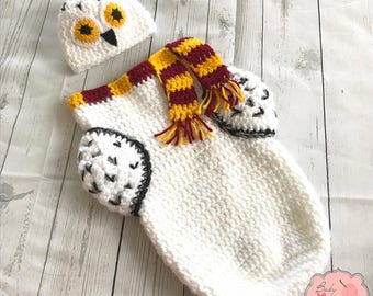 Hedwig Harry Potter Owl Gryffindor Inspired Infant Newborn Baby Outfit Beanie Hat Cocoon Sack Bundle Crochet Photography Photo Prop