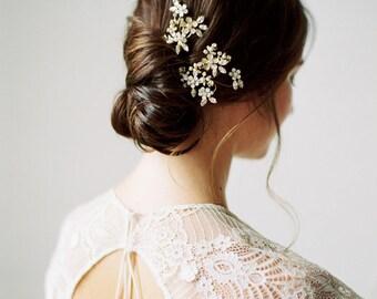 Floral Bridal Hair pins, Gold Crystal Wedding Hair pins, Crystal Wedding Headpiece, Statement Crystal Adornment Bridal Headpiece - Style 507