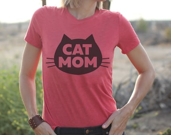 Cat T-Shirt - Cat Mom Cat T-Shirt, Women's T-Shirt, Relaxed Fit Red tee