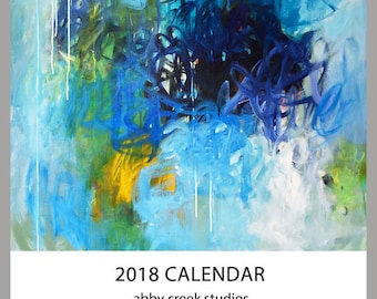 Wall Calendar with Abstract Paintings 8 x 10