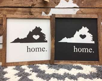 "State home sign with heart / Virginia state sign / 9"" x 9""/ handmade / gallery wall / home decor / wall decor / farmhouse sign /"