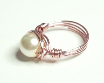 Rose Gold and White Pearl  Handmade Wire Wrapped Ring Sizes 1-14