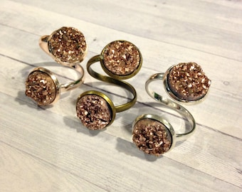 Rose Gold Druzy Ring, Double Druzy Ring, Two Stone Ring, Custom Druzy Ring, Reversible Drusy Ring, Crushed Crystal Ring, Adjustable Ring
