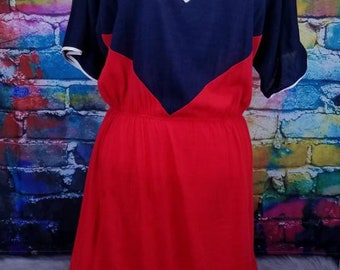 Vintage 1980s Red White and Blue Chevron Dress - Mid Length - Short Sleeves - Peekaboo Back