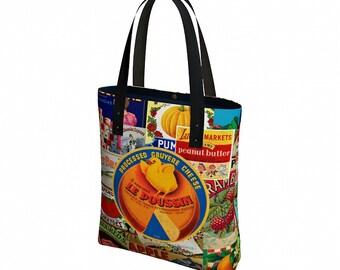 Tote Bag with Pockets - Boho Bag - Vegan Leather Straps - Reusable Grocery Bag - Canvas Tote Bag - Shoulder Bag - Everyday Womens Bag
