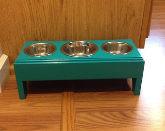 Elevated feeder,Raised 3 Bowls Pet Feeder,1 (2cup)and 2(1 cup) Handmade Wooden For Dogs and Cat,Feeder Stand
