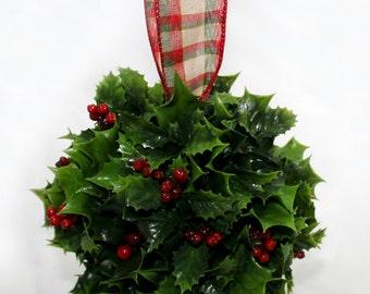 Holly Berry Holidays Mistletoe Kissing Ball
